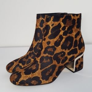 New DKNY leopard print cow fur leather ankle boots